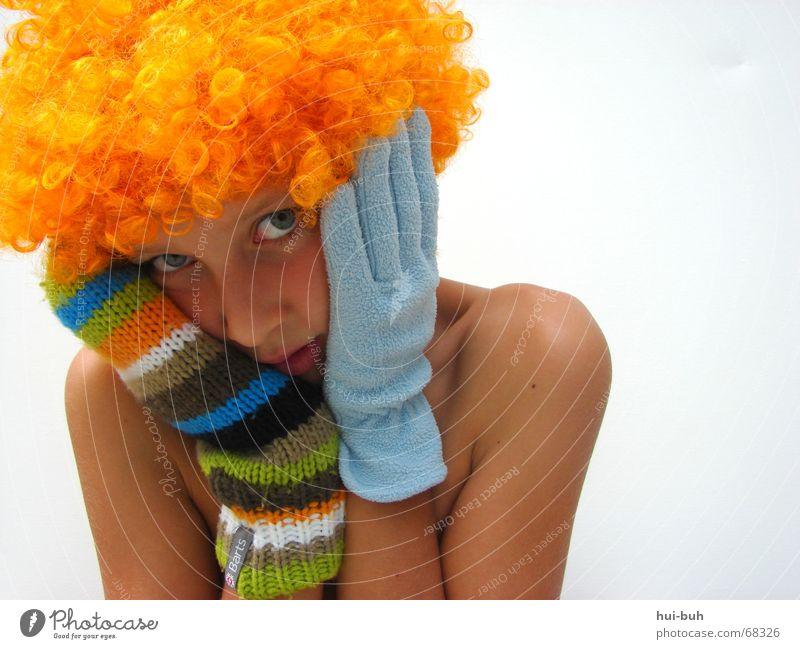 ach bin ich schön- der clown fünf Perücke gelb Handschuhe mehrfarbig gestrickt weiß ruhig Finger Wimpern Zwinkern Vogel Anmut Spielen kindlich süß