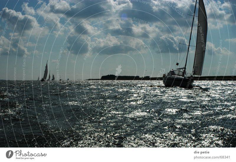 törn aufm ijsselmeer Segeln Ijsselmeer Niederlande Sportboot Wellen Erfolg Küste Wolken