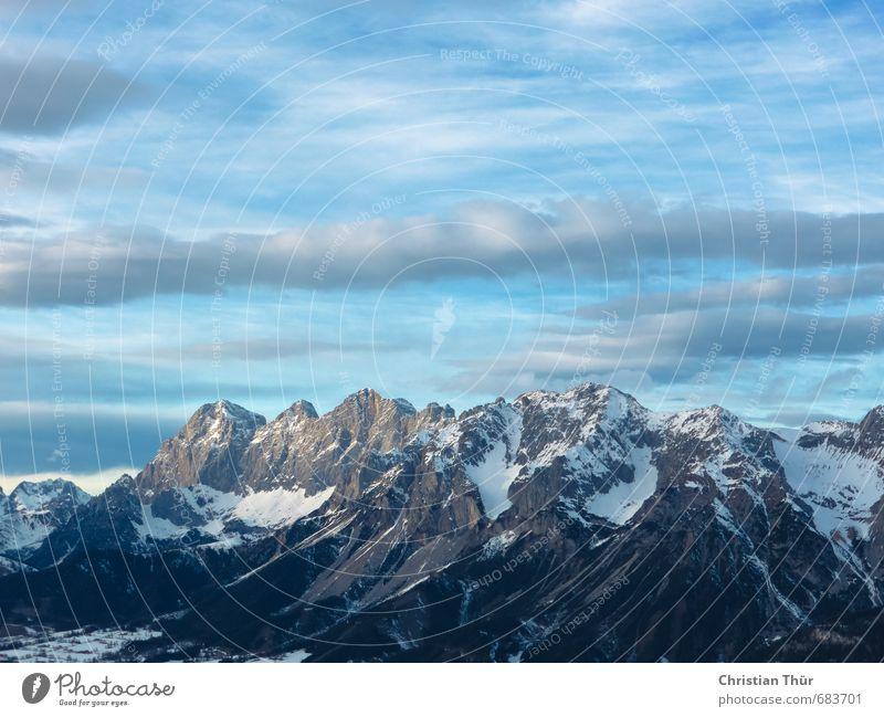 Winterhorizont Skier Umwelt Natur Himmel nur Himmel Schönes Wetter Schnee Felsen Alpen Berge u. Gebirge Schneebedeckte Gipfel Gletscher Erholung träumen