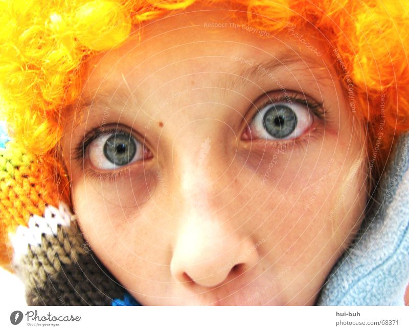 glotzen- der Clown sechs Freude Auge Haare & Frisuren Nase Locken Überraschung Witz Handschuhe kulleräugig gestrickt