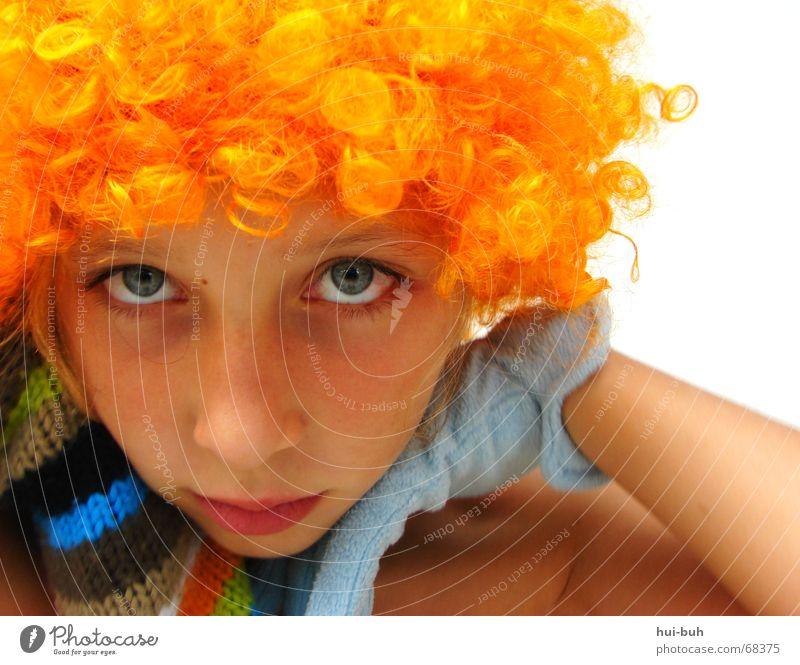 ausdruckslos-der clown sieben schön blau Auge gelb Haare & Frisuren Mund orange Nase süß Karneval Gesichtsausdruck Schulter Wimpern Handschuhe Augenbraue