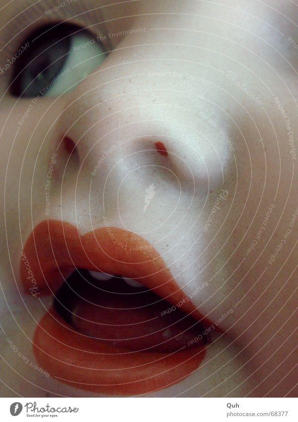 links oben blau Gesicht Auge Kopf Mund Baby Nase Lippen Kindheit Geschirr Puppe Wange falsch Zunge antik Wimpern