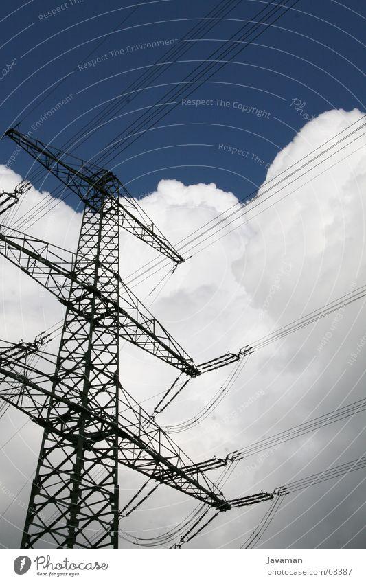 Umspannwerk Himmel Wolken Energiewirtschaft Elektrizität elektronisch Smog