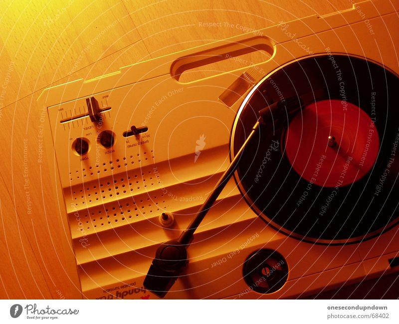 vestaxile Musik Stimmung orange Lautsprecher Mobilität drehen Griff Tonabnehmer Schallplatte Knöpfe unterwegs Hiphop Single Musikmischpult Sprechgesang Plattenspieler