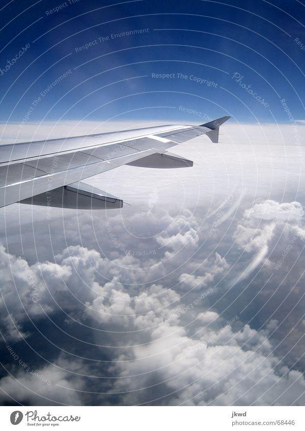 Sonnig bei -32 °C Himmel weiß blau Ferien & Urlaub & Reisen Wolken kalt Freiheit Metall glänzend Flugzeug Flügel Klarheit technisch Blendenfleck