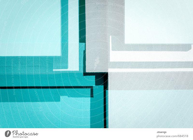 Eckig weiß Stil außergewöhnlich Linie hell Fassade Ordnung elegant Design verrückt Beton Grafik u. Illustration Coolness einzigartig trendy türkis