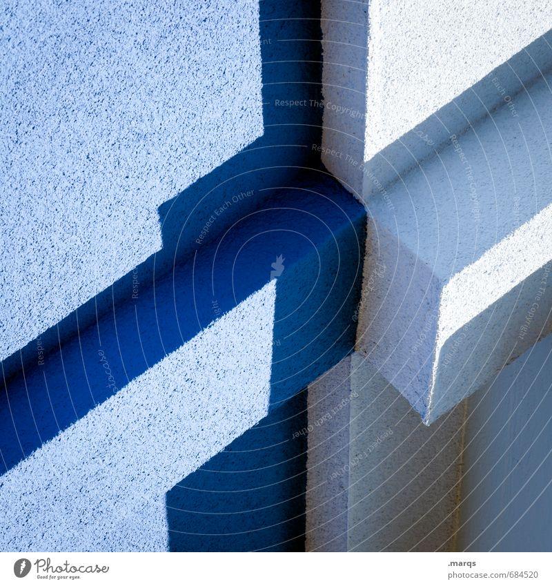 Verbindung Lifestyle elegant Stil Design Architektur Fassade eckig hell trendy modern verrückt blau Irritation hell-blau Grafik u. Illustration Farbfoto