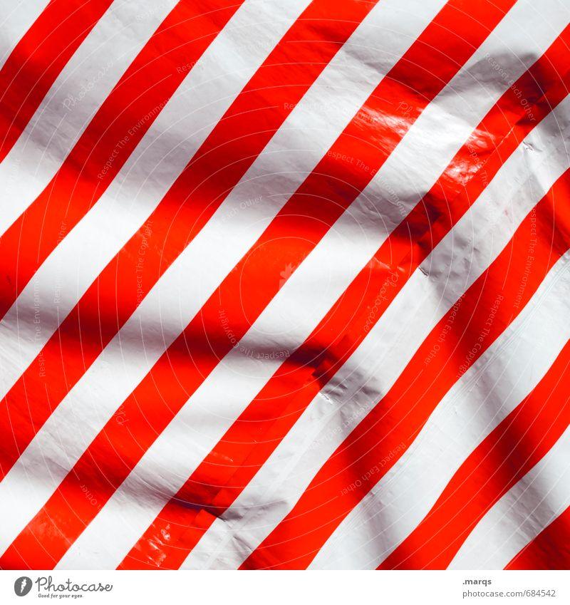Streifen elegant Stil Design Kunststoff Linie einfach rot weiß Faltenwurf Hintergrundbild Wetterschutz Wind Farbfoto Außenaufnahme Nahaufnahme Muster