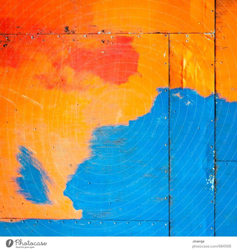 Küste Lifestyle Stil Design Anstreicher Mauer Wand Holz einfach einzigartig blau orange rot Farbe Hintergrundbild Farbfoto mehrfarbig Außenaufnahme abstrakt