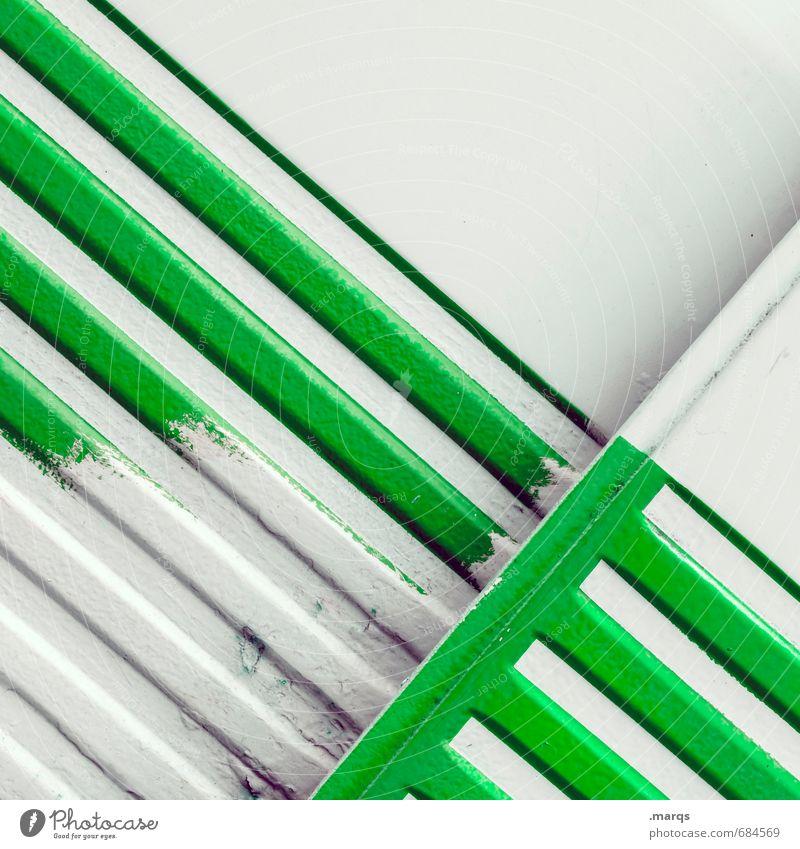 Gestreift elegant Stil Design Metall Linie einfach einzigartig trashig grün weiß Farbe Neigung Grafik u. Illustration Farbfoto Nahaufnahme abstrakt Muster