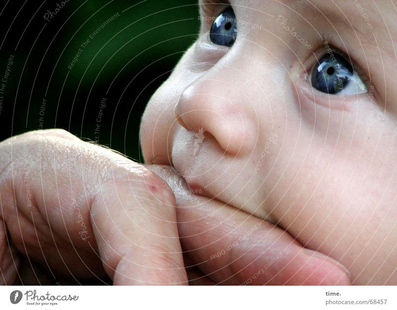 Kann ich dir trauen? Gesicht Kind Baby Kleinkind Mann Erwachsene Finger Neugier Vertrauen Frieden Kontakt Wunsch saugen Wange blaue augen unvoreingenommen