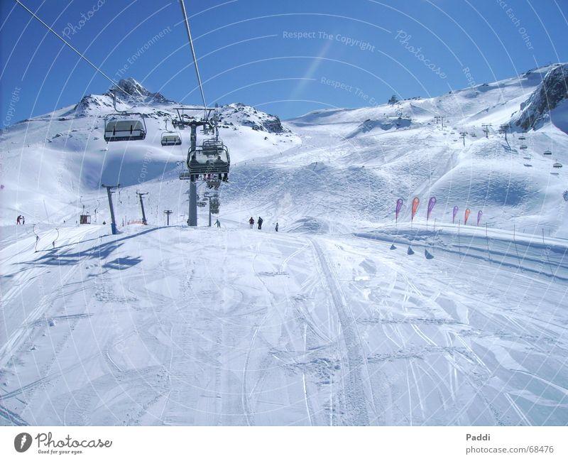 Skiurlaub Himmel Ferien & Urlaub & Reisen Winter kalt Berge u. Gebirge Schnee Eis Frost Alpen Schneebedeckte Gipfel Skifahren aufwärts Skigebiet