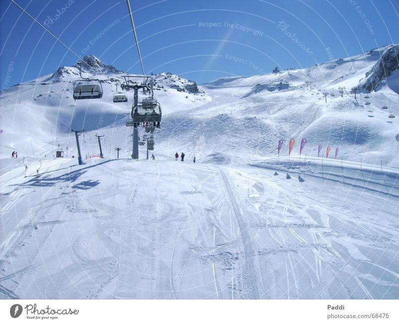 Skiurlaub Skifahren Ferien & Urlaub & Reisen Winter Dezember kalt Skilift Skipiste Ischgl Schnee Eis Frost Himmel Berge u. Gebirge Alpen Skigebiet Sesselbahn