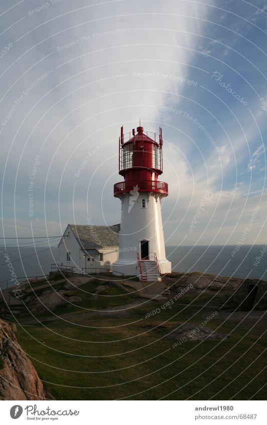Südkap von Norwegen Leuchtturm Licht Wolken Ferien & Urlaub & Reisen Meer Lampe See südkap Wasser Wasserfahrzeug Turm Hinweisschild Zeichen