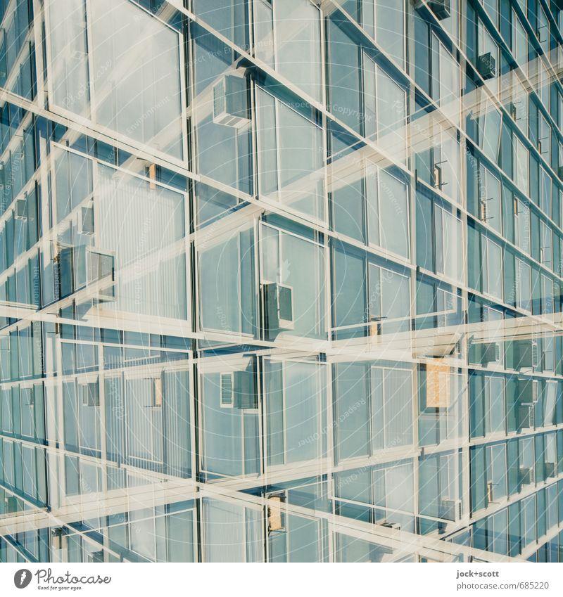 hin und her Fenster Architektur Linie Metall Fassade Design modern Perspektive fantastisch Coolness Wandel & Veränderung retro Netzwerk Irritation skurril