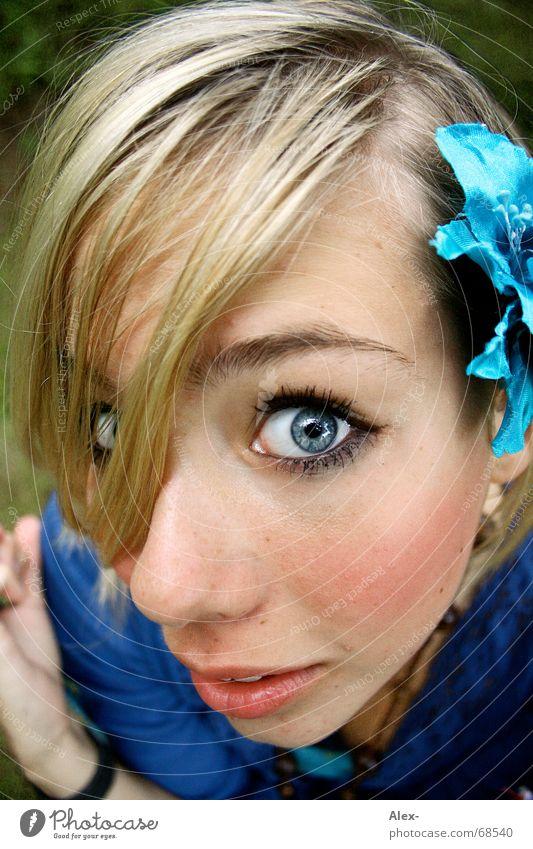 Fischauge Frau schön Blume blau Gesicht Auge kalt Haare & Frisuren Mund Angst klein Nase groß Elektrizität süß nah