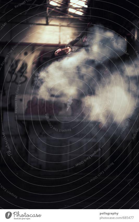 hide Mensch feminin Junge Frau Jugendliche Erwachsene Leben Körper 1 18-30 Jahre Bauwerk Gebäude Mauer Wand langhaarig Locken Gefühle Lagerhaus Lagerhalle Nebel