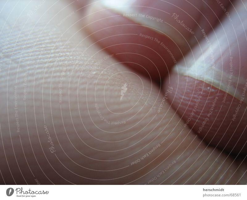MacroNail Hand weiß Haut rosa Finger Sauberkeit Spuren Furche Fingernagel Nagel Zeigefinger Hautfarbe Fingerabdruck Ringfinger