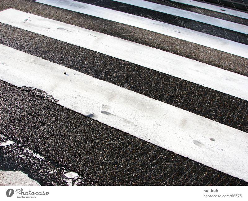 rechts, links,rechts- und drüber laufen. Zebra Zebrastreifen schwarz weiß gestreift Ampel Fußgänger Linie Asphalt betoniert Teer Grundschule Hand Bodenbelag