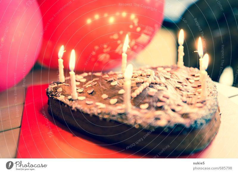Happy Birthday Kuchen Süßwaren Schokolade Schokoladenkuchen Kinderkuchen Geburtstagstorte Feste & Feiern Kindergeburtstag Kerzen rosa rot Luftballon Herz
