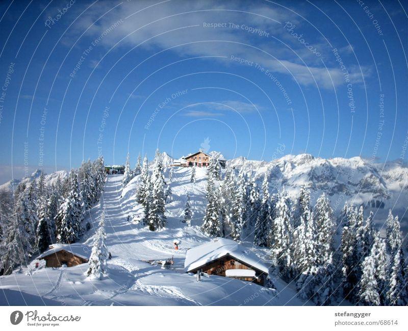 Winterlandschaft Himmel Ferien & Urlaub & Reisen Wolken Wald Berge u. Gebirge Schnee Idylle Gipfel Alpen Schneebedeckte Gipfel Hütte Skigebiet Österreich