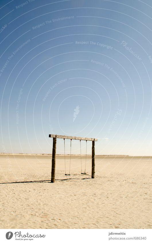 schaukeln Freizeit & Hobby Spielen Ferien & Urlaub & Reisen Sommer Sommerurlaub Sonne Strand Meer Natur Landschaft Sand Wasser Himmel Küste Nordsee Freude