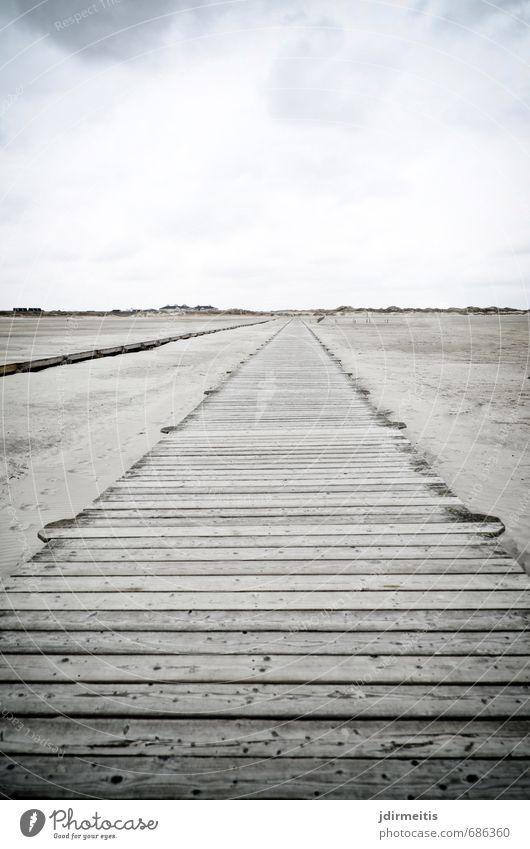 steg Ferien & Urlaub & Reisen Tourismus Ferne Freiheit Strand Meer Natur Landschaft Sand Wolken Küste Nordsee Holz gehen wandern Steg Farbfoto Gedeckte Farben