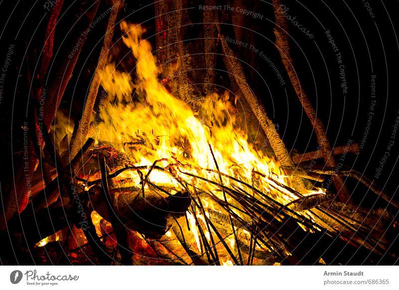 Nächtliches Lagerfeuer Abenteuer Freiheit Winter Natur Feuer Frühling Holz Aggression ästhetisch bedrohlich heiß gelb orange Stimmung Macht Warmherzigkeit