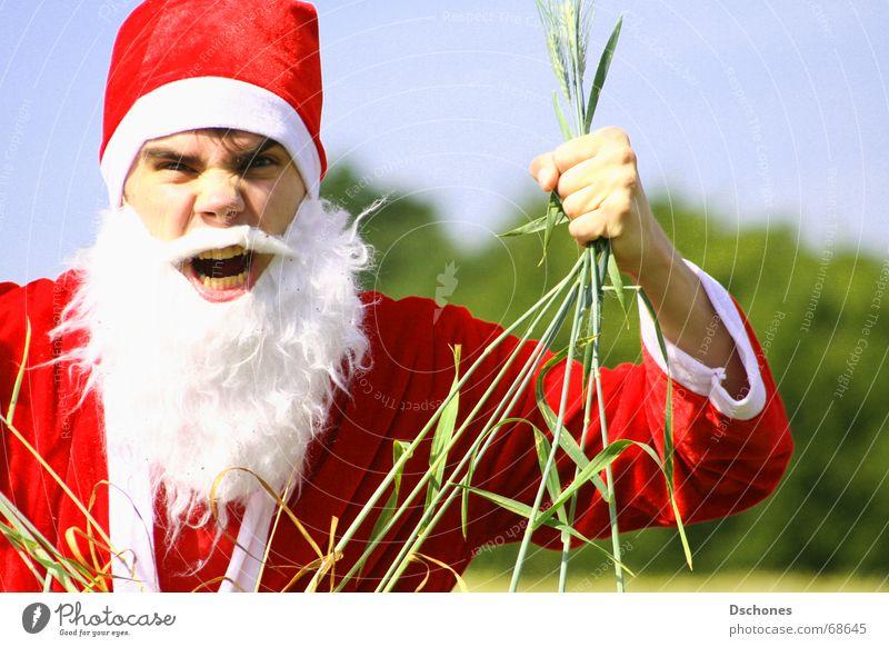 KLAUS VERSAGT Pirsch Indianer verfehlen Müsli Vollkorn Anfall Wut Hallo Psychoterror kommen Weihnachtsmann Dezember Winter Feld Gruß Baum gestikulieren Bart