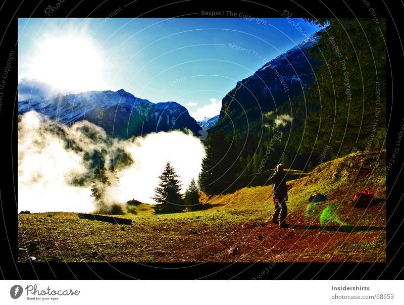 Herbst in den Bergen Sonne grün blau rot gelb Schnee Berge u. Gebirge Nebel groß Aussicht Prima Herbstfärbung