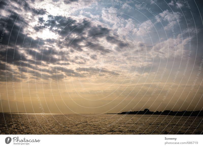 Nordsee | Und in der Luft... Himmel Natur Ferien & Urlaub & Reisen blau Wasser Sommer Sonne Meer Landschaft ruhig Wolken schwarz Stimmung Horizont orange Wellen