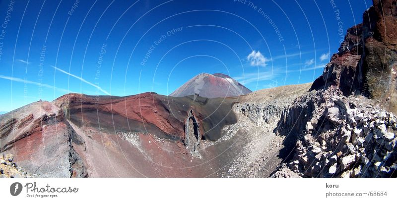 Red Crater rot groß Felsen tief Panorama (Bildformat) Vulkan Neuseeland Vulkankrater