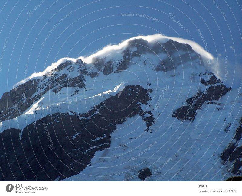 Chill Effect kalt Schnee Berge u. Gebirge Wind Felsen Gipfel Neuseeland Sandverwehung