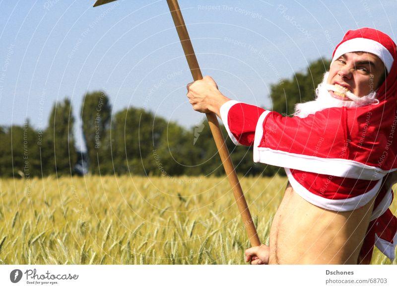 KLAUS ZERBRICHT Weihnachtsmann Sensenmann Kornfeld Wut Aggression lustig Spaßvogel Witz Feldarbeit Saisonarbeit Saisonarbeiter Erntehelfer Frustration Unlust