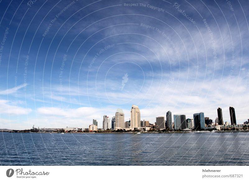 Skyline San Diego Ferien & Urlaub & Reisen Tourismus Meer Business Landschaft Himmel Wolken Küste Stadt Stadtzentrum Hochhaus Hafen Gebäude Architektur