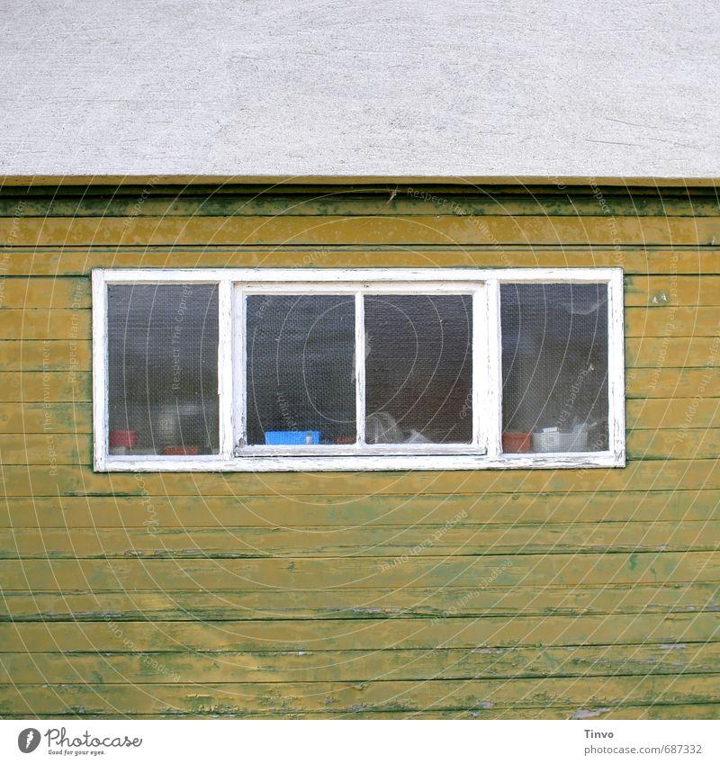 !Trash! eingemottet Hütte Scheune Fassade Fenster hässlich trashig Einsamkeit ungepflegt ausdruckslos Holzwand winterfest verfallen alt Farbfoto Außenaufnahme