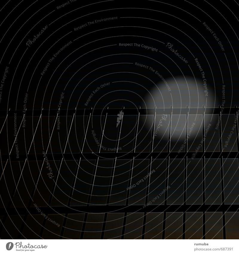 In der Nacht hinter dem Zaun Halloween Kunst Himmel Mond Vollmond Architektur Metall Zeichen Traurigkeit bedrohlich dunkel gruselig schwarz Gefühle Macht Angst
