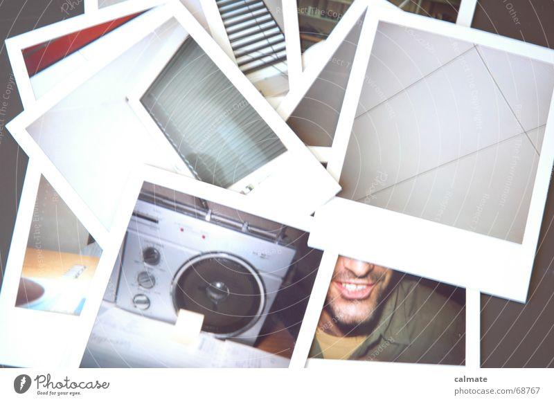 - polaroid II - Momentaufnahme Fotografie spontan Schreibtisch zu hell Arbeit & Erwerbstätigkeit Agenda Fenster Unterlage alt lachen Freude Sammlung Mund Radio