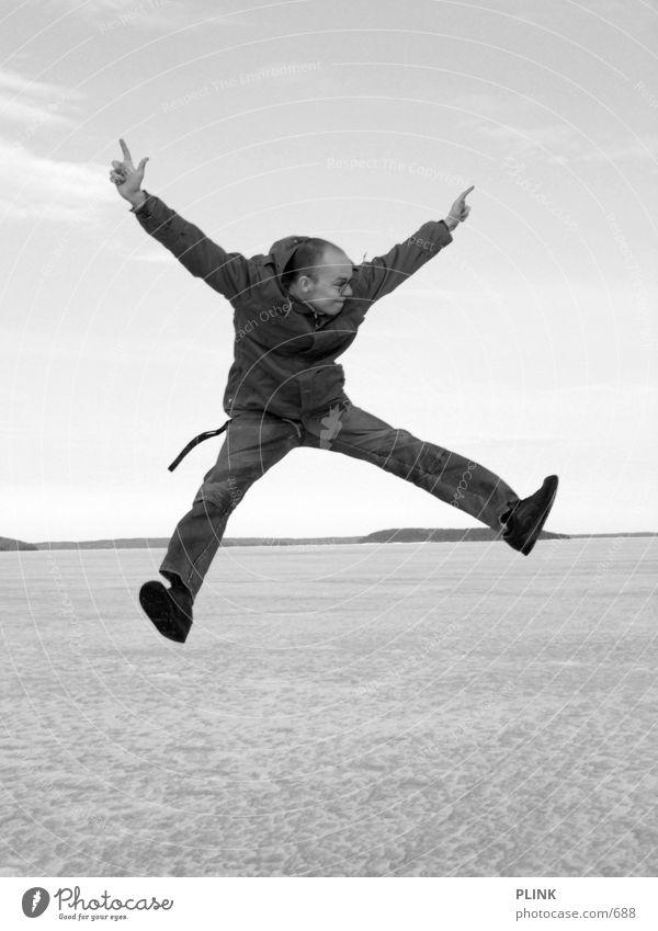 Das menschliche iX springen Winter Buchstaben Mann fiese fresse Freude
