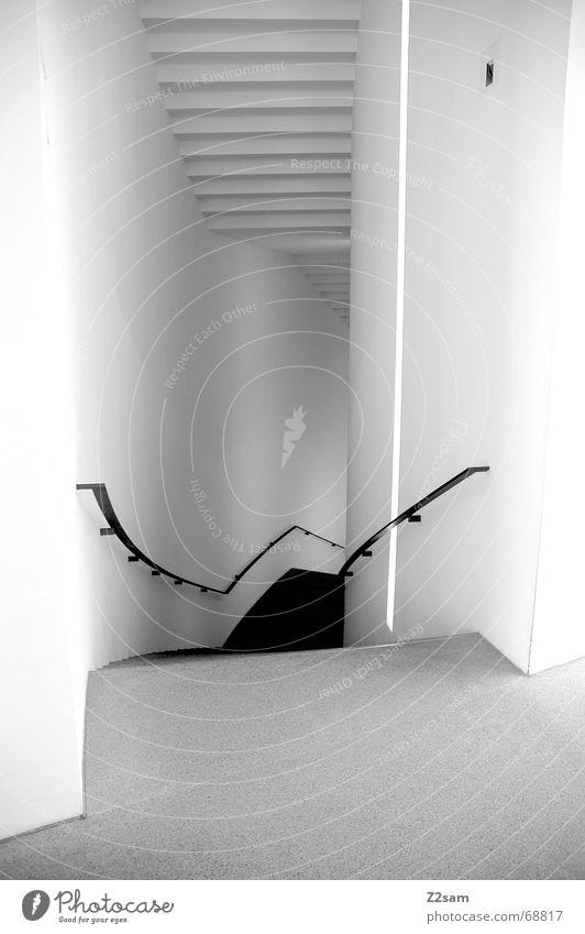 that away downward weiß Wand abwärts Sauberkeit Treppe Geländer Perspektive Wege & Pfade architecture clean ruhig Architektur