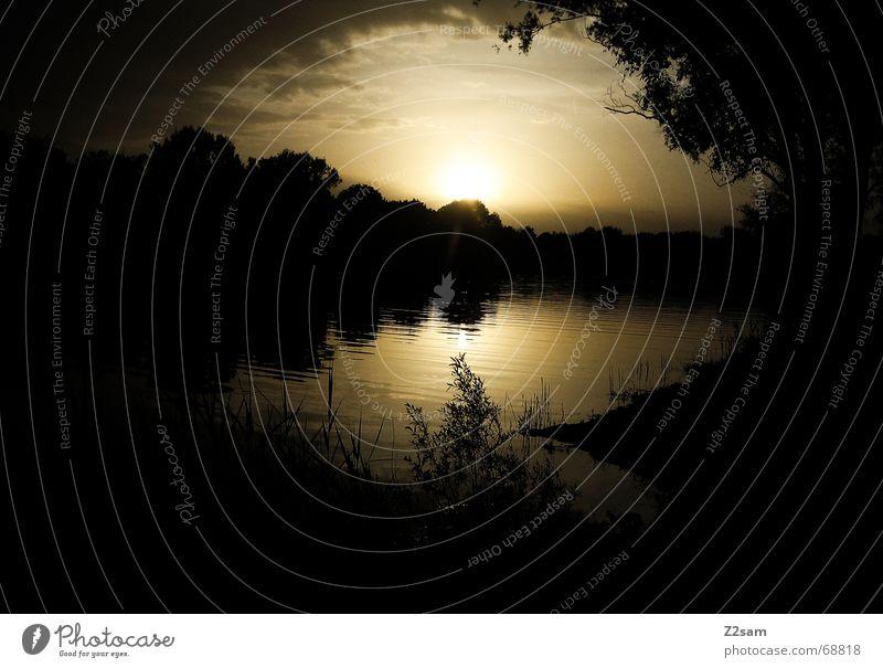 summer sea-idyl Nacht See Sonnenuntergang gelb Meer Seeufer night water Wasser