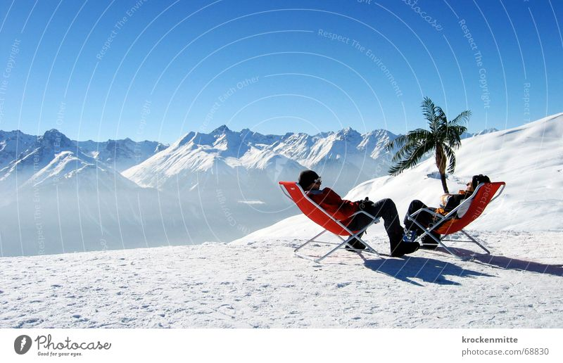oase Après-Ski Liegestuhl Bergkette Wintersport Pause Palme sprechen Freundschaft Ferien & Urlaub & Reisen Erholung Schweiz Engadin Freizeit & Hobby