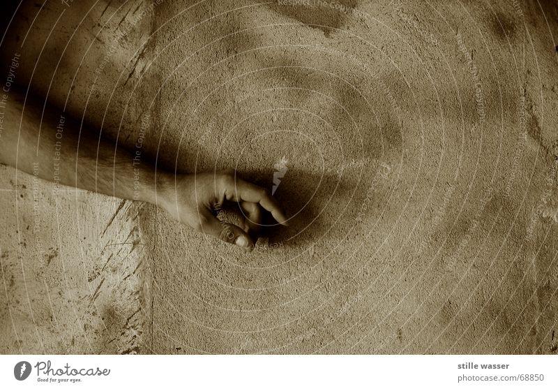 ARMER ARM Hand Einsamkeit Wand Arme Finger Kontakt Sehnsucht Langeweile Schüchternheit Halt zeigen Schwäche einheitlich