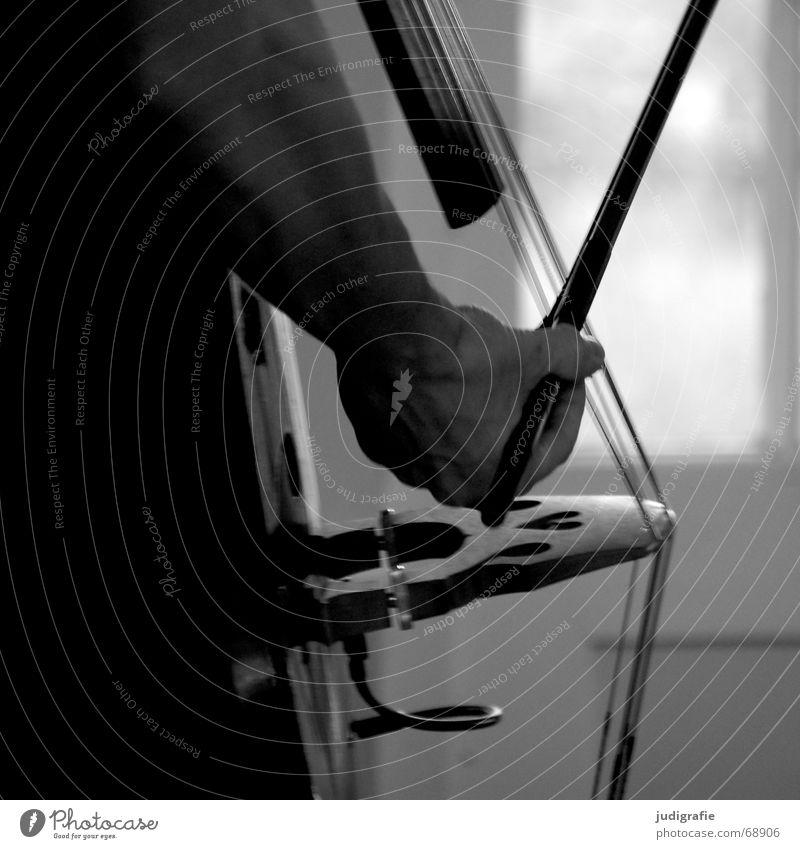 Musik 3 Mensch Mann Hand schwarz Ton Klang Bogen Saite Kontrabass Streichinstrumente