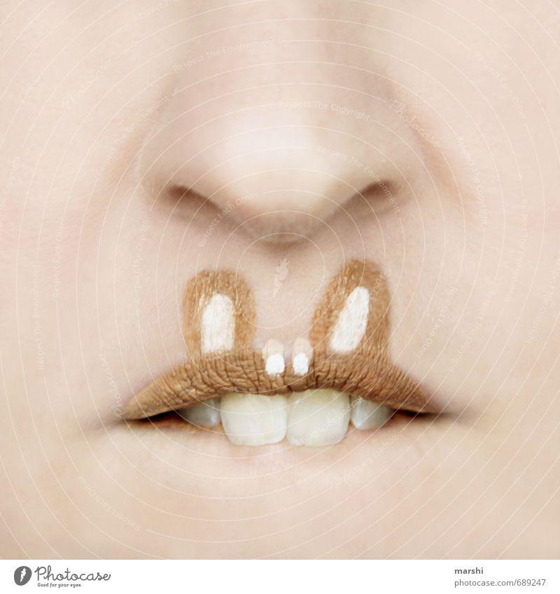 Hasenzähne Mensch Haut 1 Tier Gefühle Hase & Kaninchen Osterhase Ostern Hasenzahn Gebiss Nase Detailaufnahme Idee lustig zahnkorrektur Zahnarzt Schminke