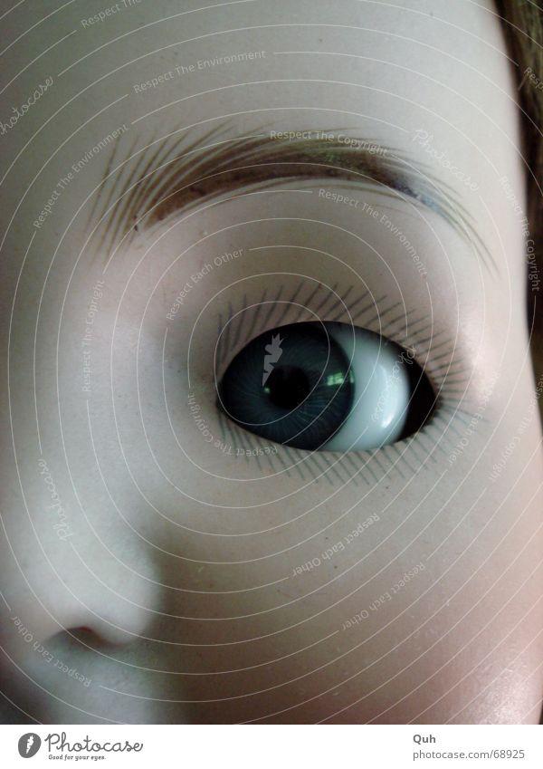 schelmauge blau Gesicht Auge Kopf Baby Nase streichen Kindheit Geschirr Puppe Wange falsch antik Wimpern links Augenbraue