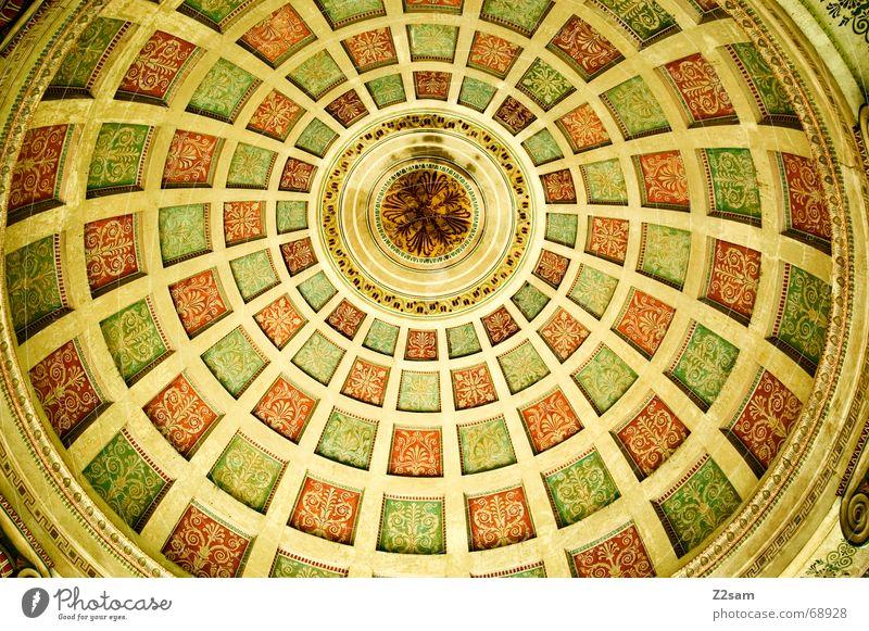 monopterus Muster gelb München Englischer Garten Monopterus bemalt mehrfarbig rund Quadrat Decke architecture Architektur