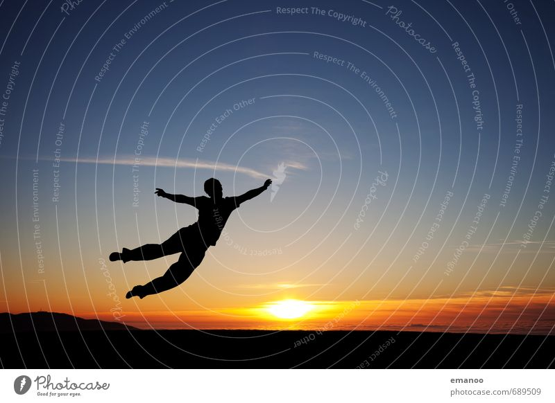 sunset flyer Lifestyle Stil Freude sportlich Fitness Ferien & Urlaub & Reisen Ausflug Freiheit Mensch Mann Erwachsene Jugendliche Körper 1 Landschaft Himmel