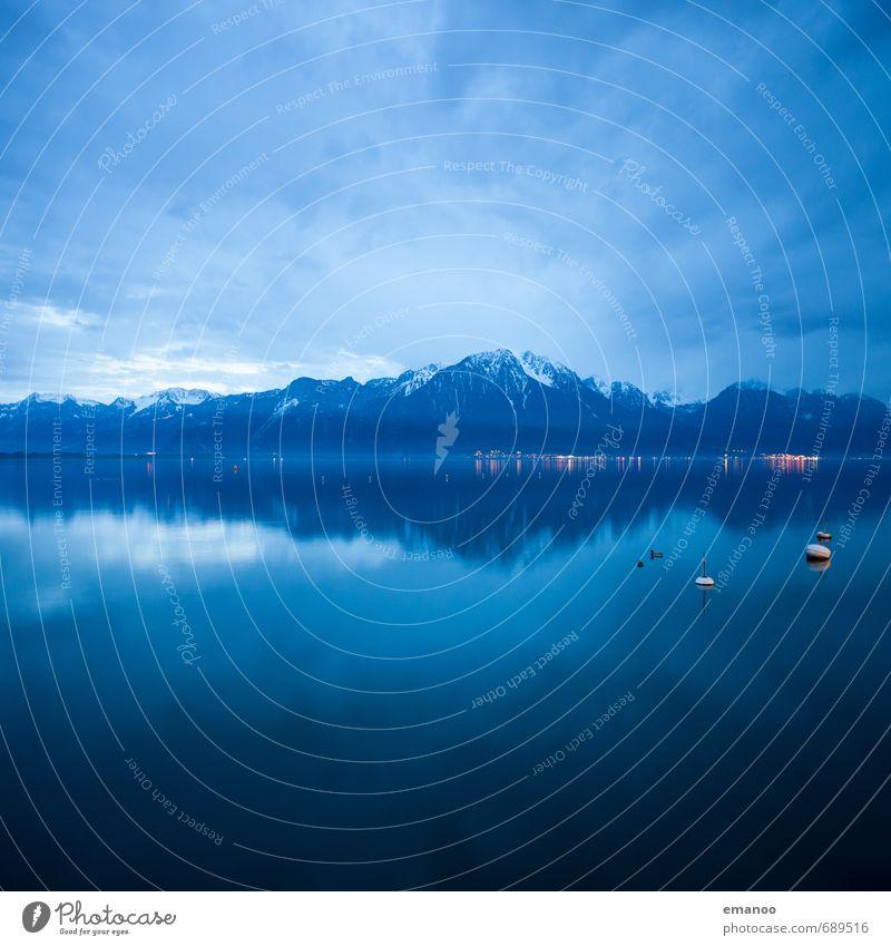 lac leman Ferien & Urlaub & Reisen Ausflug Winter Berge u. Gebirge Natur Landschaft Luft Wasser Himmel Wolken Gewitterwolken Horizont Wetter schlechtes Wetter