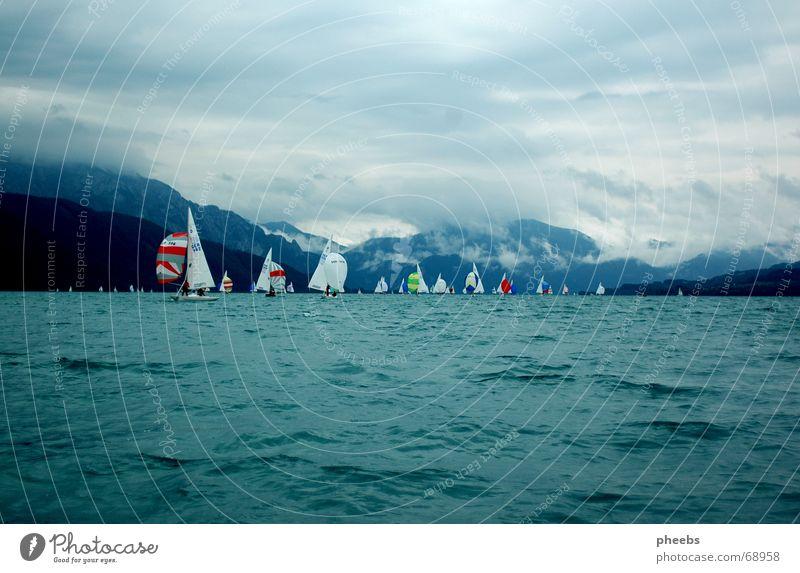 stürmischer sommer Wasser Himmel Wolken Wasserfahrzeug Sturm Segeln Drache Österreich Regatta Attersee